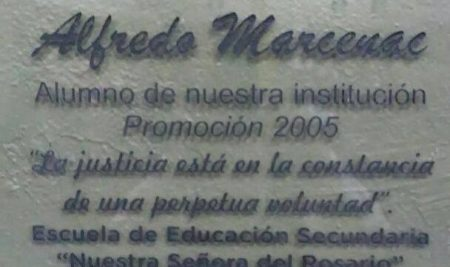 """10 de Octubre 2017, se celebró el acto de imposición del nombre """"Alfredo Marcenac"""" al SUM del Colegio Nuestra Señora del Rosario en Necochea."""